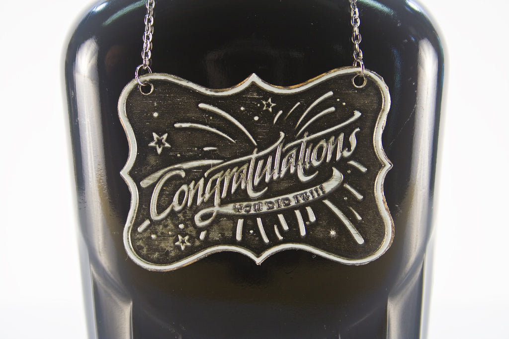 Congratulation Metal Bottle/Decanter Gift Tag - Glasstastic Ideas - 3