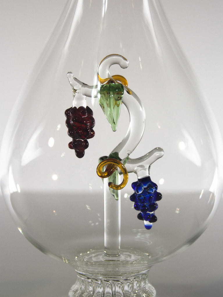 Tear Drop  Bottle with Grape Vine - Glasstastic Ideas - 3