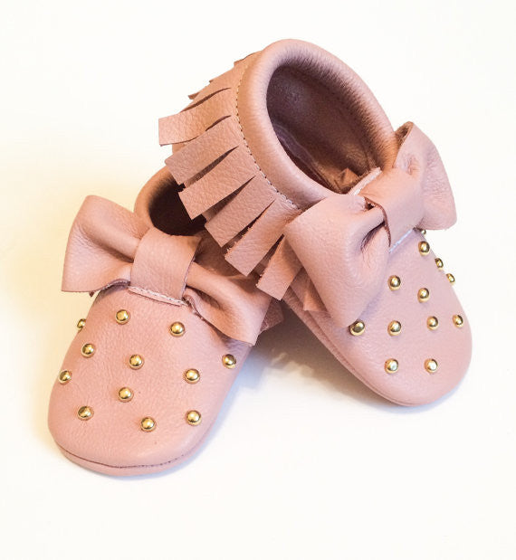 5370b1d6f847d Baby Moccasins - Studded Blush Bow Moccasins