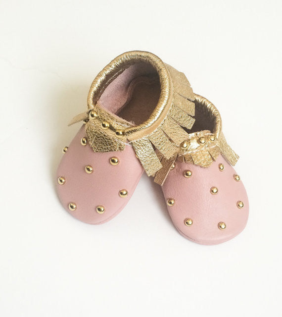 faf07a7487cee Baby Moccasins - Studded Pink + Gold