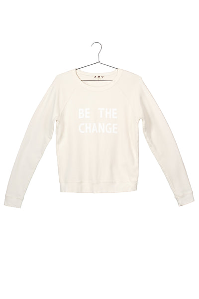 Be The Change Sweatshirt <br> Off White (with Destroy)