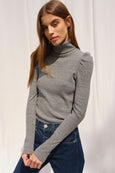 Puff Sleeve Turtle Neck <br> Heather Grey