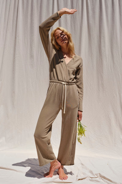 Georgie Knit Jumpsuit <br> Light Olive
