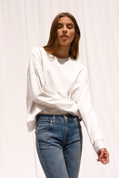 Classic Sweatshirt w/ You Are Loved Embroidery <br> Vintage White