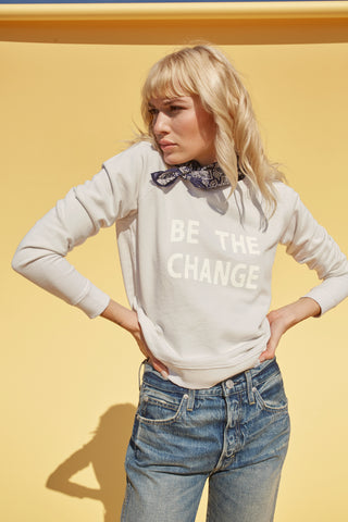 Be The Change Sweatshirt<br> Off White (with Destroy)
