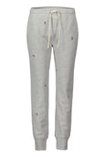 Classic Sweatpant with Rosebud Embroidery <br> Heather Grey