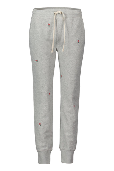 Sample Sale <br> Classic Sweatpant with Rosebud Embroidery <br> Heather Grey <br> *Final Sale*