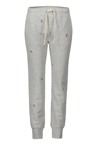 Classic Sweatpant with Rosebud Embroidery<br>Heather Grey