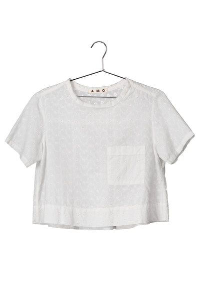 Eyelet Sienna Tee <br> Vintage white <br> *Final Sale*