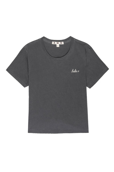 Babe Tee w/ Embroidery <br> Faded Black