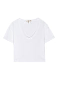 Cropped V Neck Tee <br> White