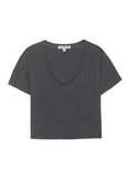 Cropped V Neck Tee <br> Faded Black