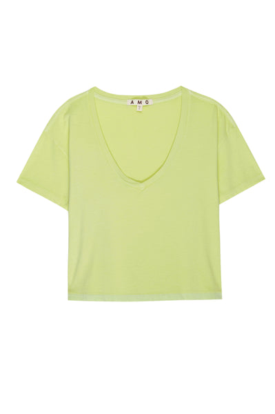 Cropped V Neck Tee <br> Limeade