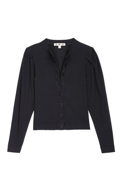 Puff Sleeve Cardigan <br> Vintage Black