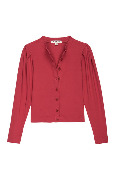 Puff Sleeve Cardigan <br> Washed Red