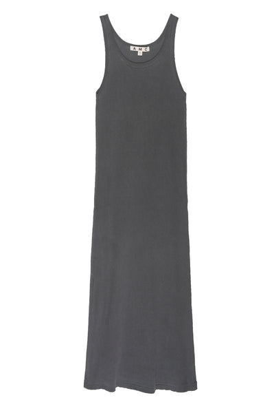 Long Rib Tank Dress <br> Faded Black