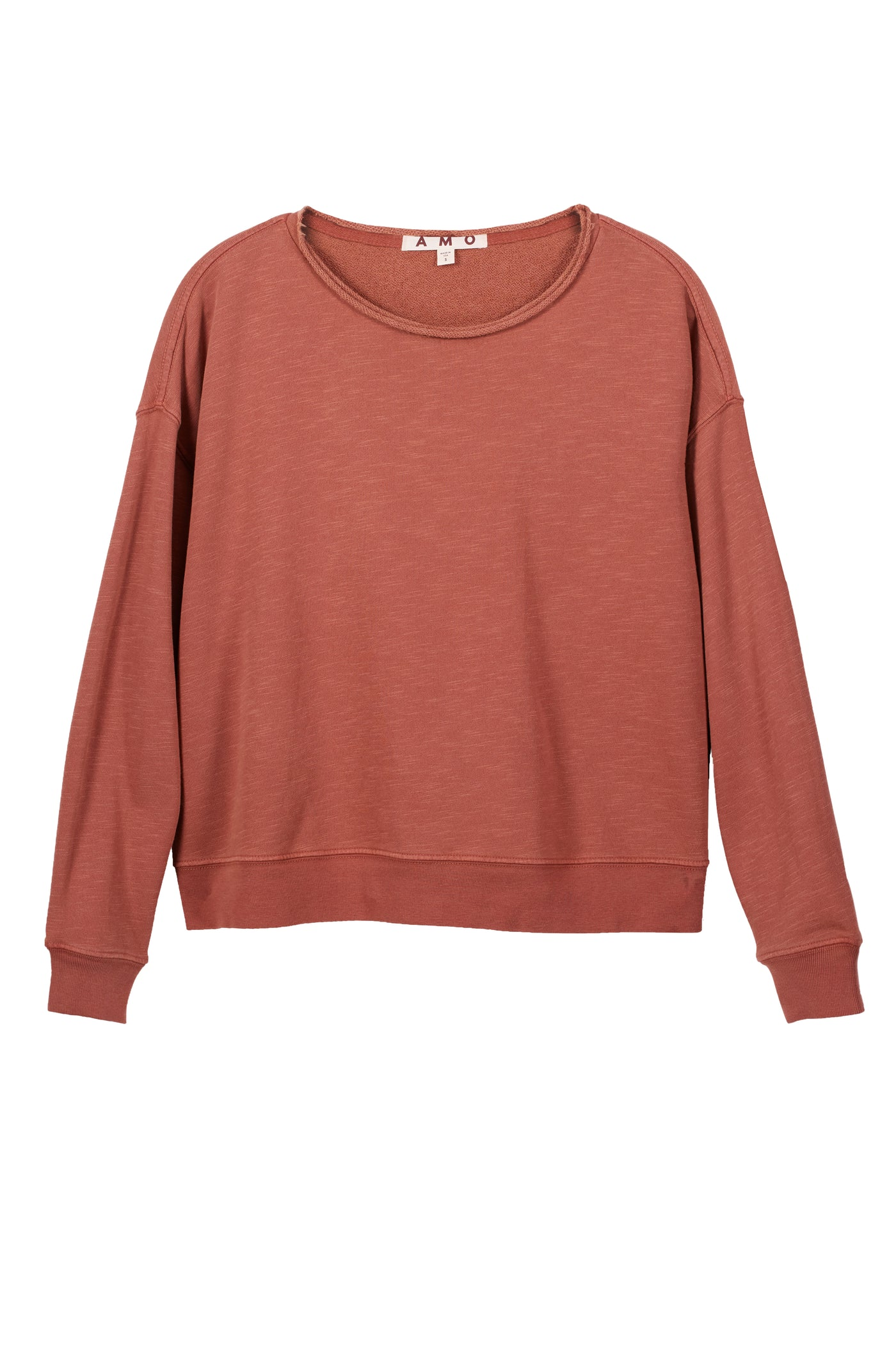 Classic Sweatshirt with Raw Edge <br> Suntan