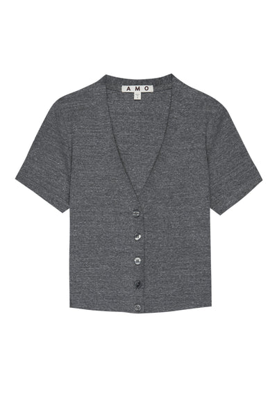 Cropped Rib Cardigan <br> Heather Grey