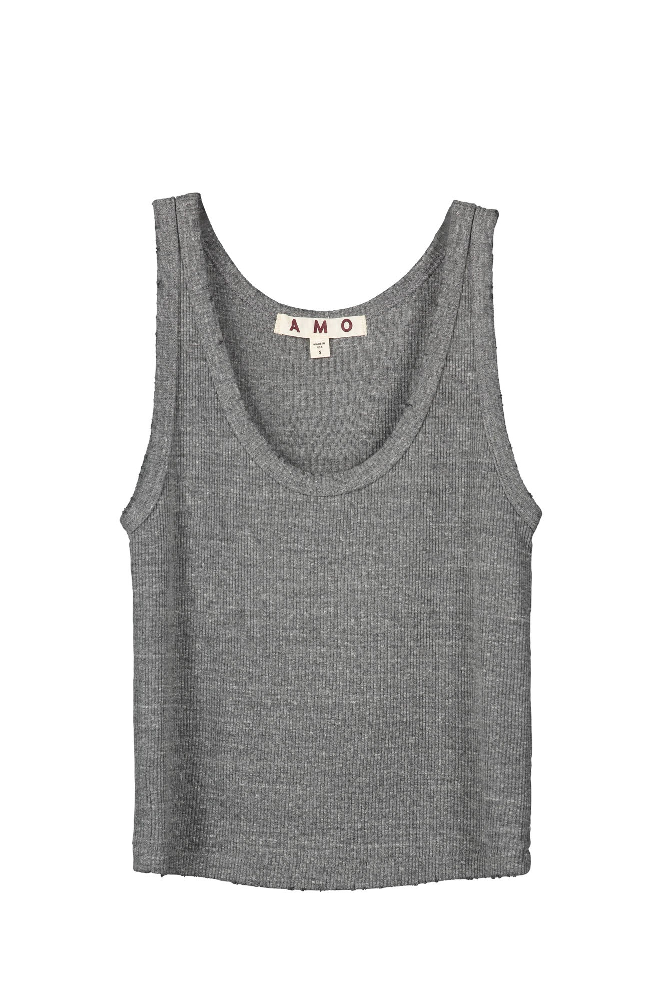 Crop Rib Tank <br> Heather Grey