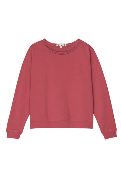 Classic Sweatshirt w/ Raw Edge <br> Washed Red