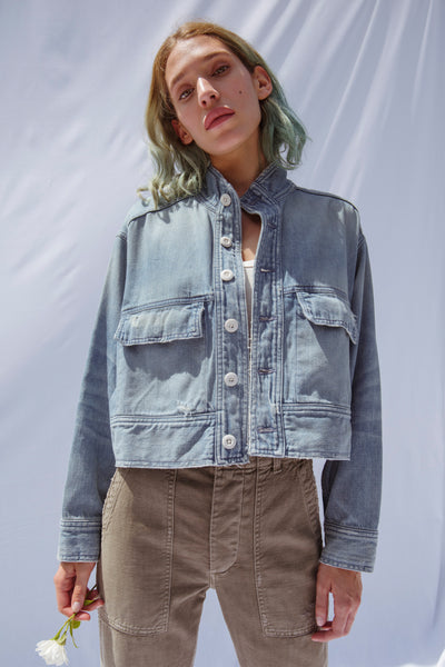 Army Patch Jacket <br> Vintage Blue