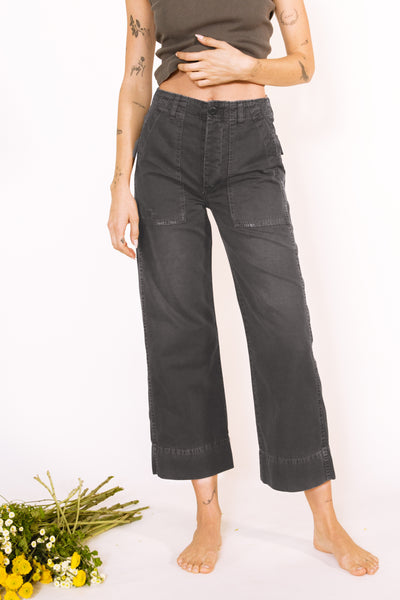 Sample Sale <br> Army Wide Leg <br> Washed Black <br> *Final Sale*