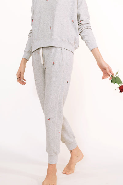 Classic Sweatpant with Rosebud Embroidery <br> Heather Grey <br> *Final Sale*