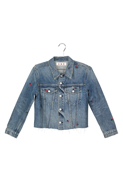 Sample Sale <br> Cropped Pop Jacket with Embroidery <br> Rosebud Embroidery <br> *Final Sale*