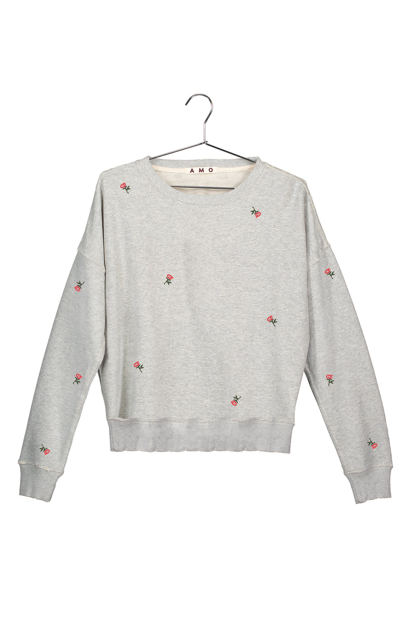 Classic Sweatshirt with Rosebud Embroidery<br>Heather Grey<br>*PRE-ORDER*