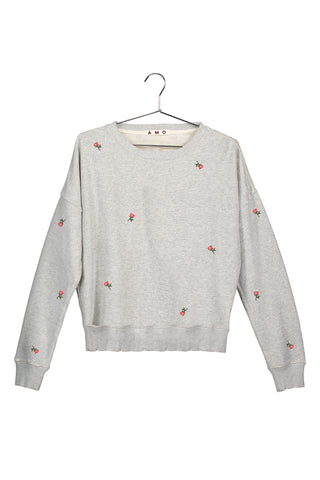 Classic Sweatshirt with Rosebud Embroidery<br>Heather Grey