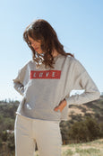 Love Cut-off Sweatshirt <br> Heather Grey Destroy