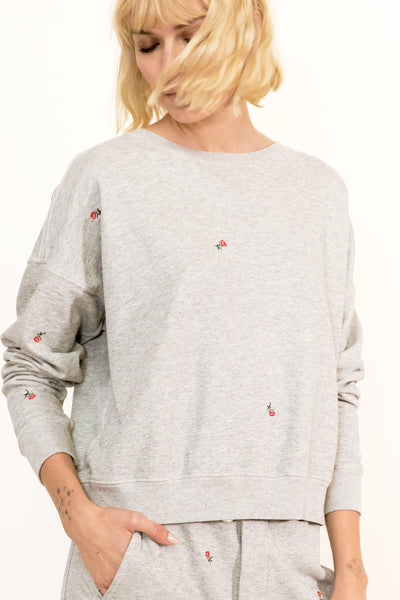 Classic Sweatshirt with Rosebud Embroidery <br> Heather Grey <br> *Final Sale*