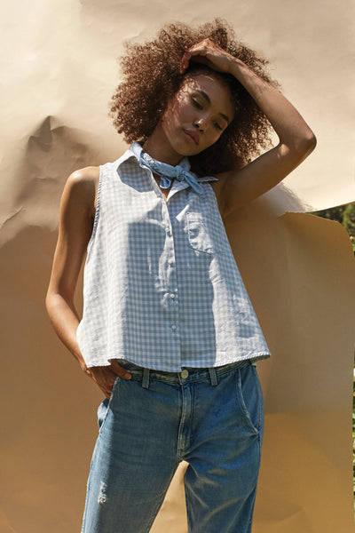 Sample Sale <br> Lauryn Tank <br> Baby Blue Gingham <br> *Final Sale*