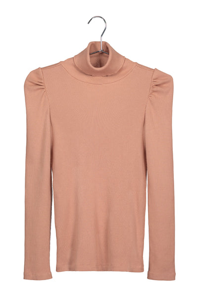 Puff Sleeve Turtle Neck <br> Adobe