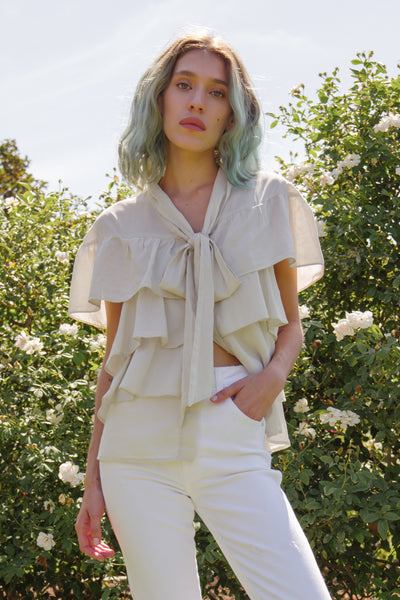 Sample Sale <br> Rosa Ruffle Blouse <br> Vintage White <br> *Final Sale*