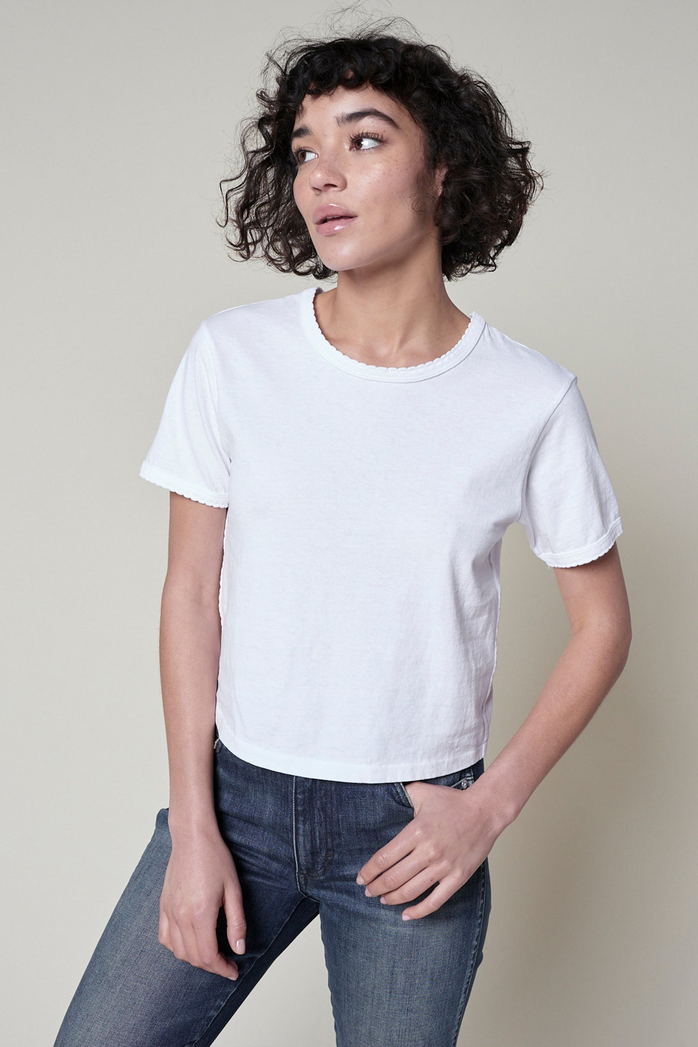 Scallop Babe Tee <br> White