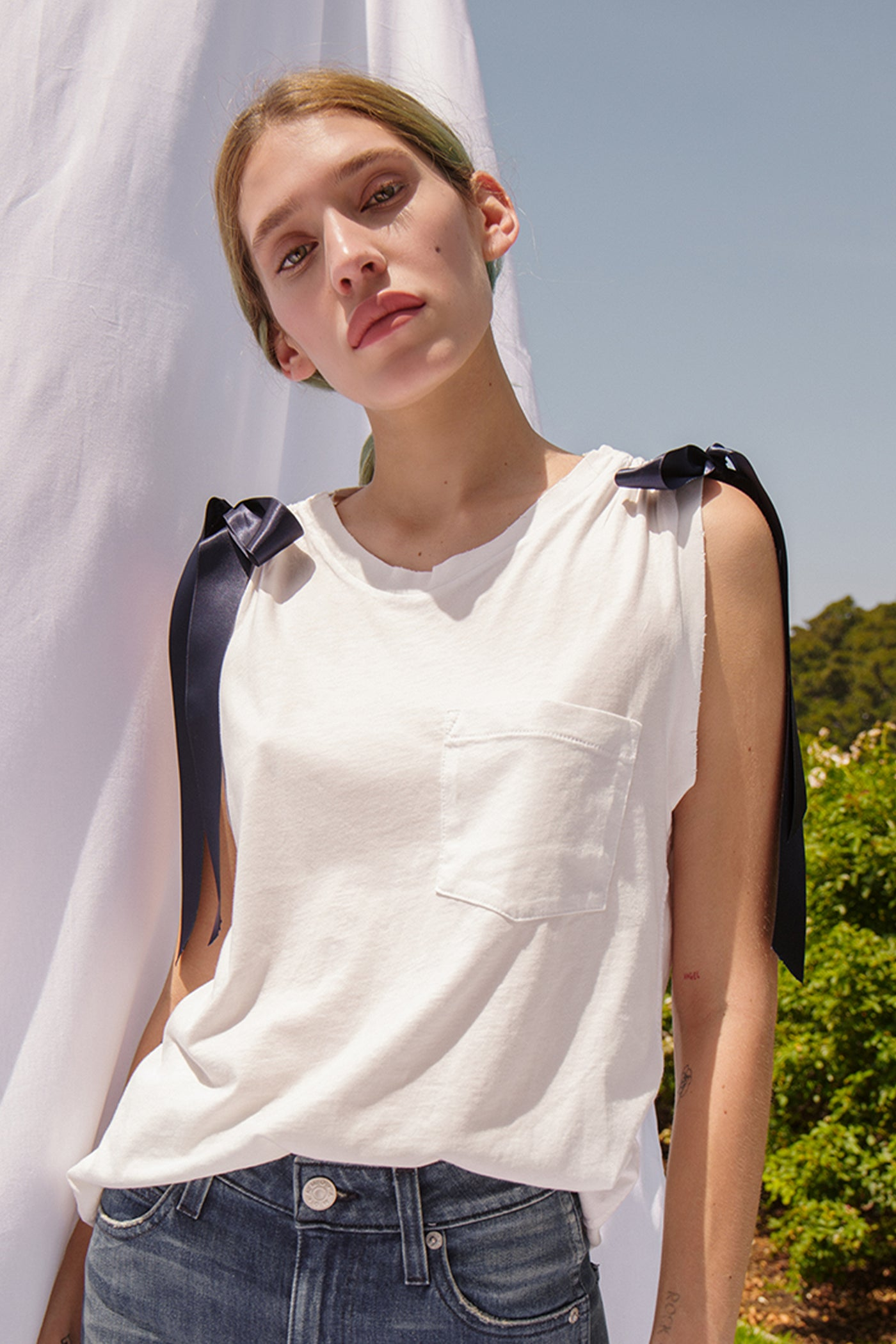Ribbon Tie Tank <br> Vintage White <br> *Final Sale*