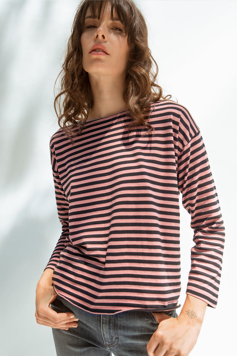 Boxy 3/4 Sleeve Tee <br> Faded Pink Stripe