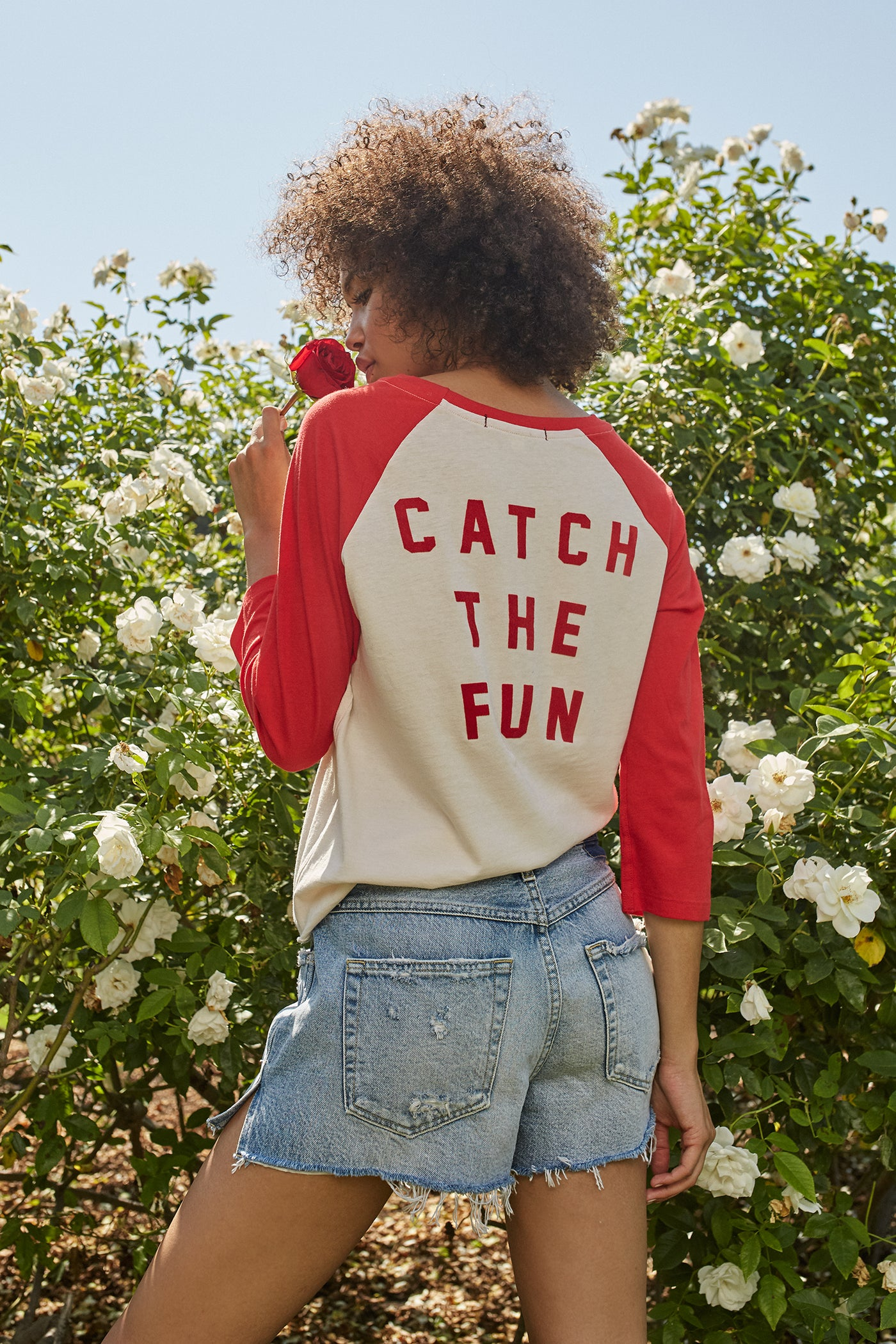 Catch The Fun Raglan Tee <br> Off White/Cherry <br> *Final Sale*