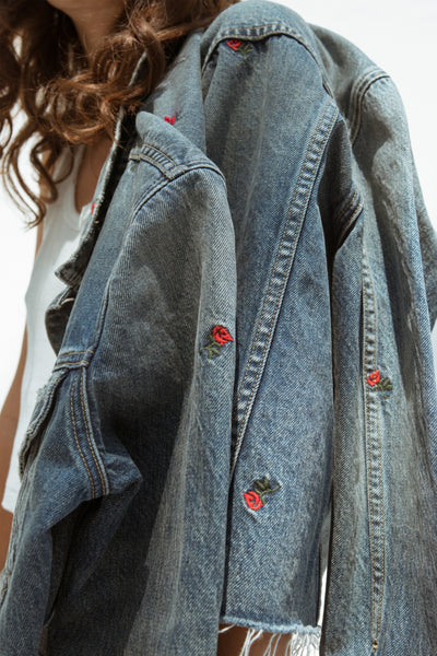 Cropped Pop Jacket with Embroidery <br> Rosebud Embroidery