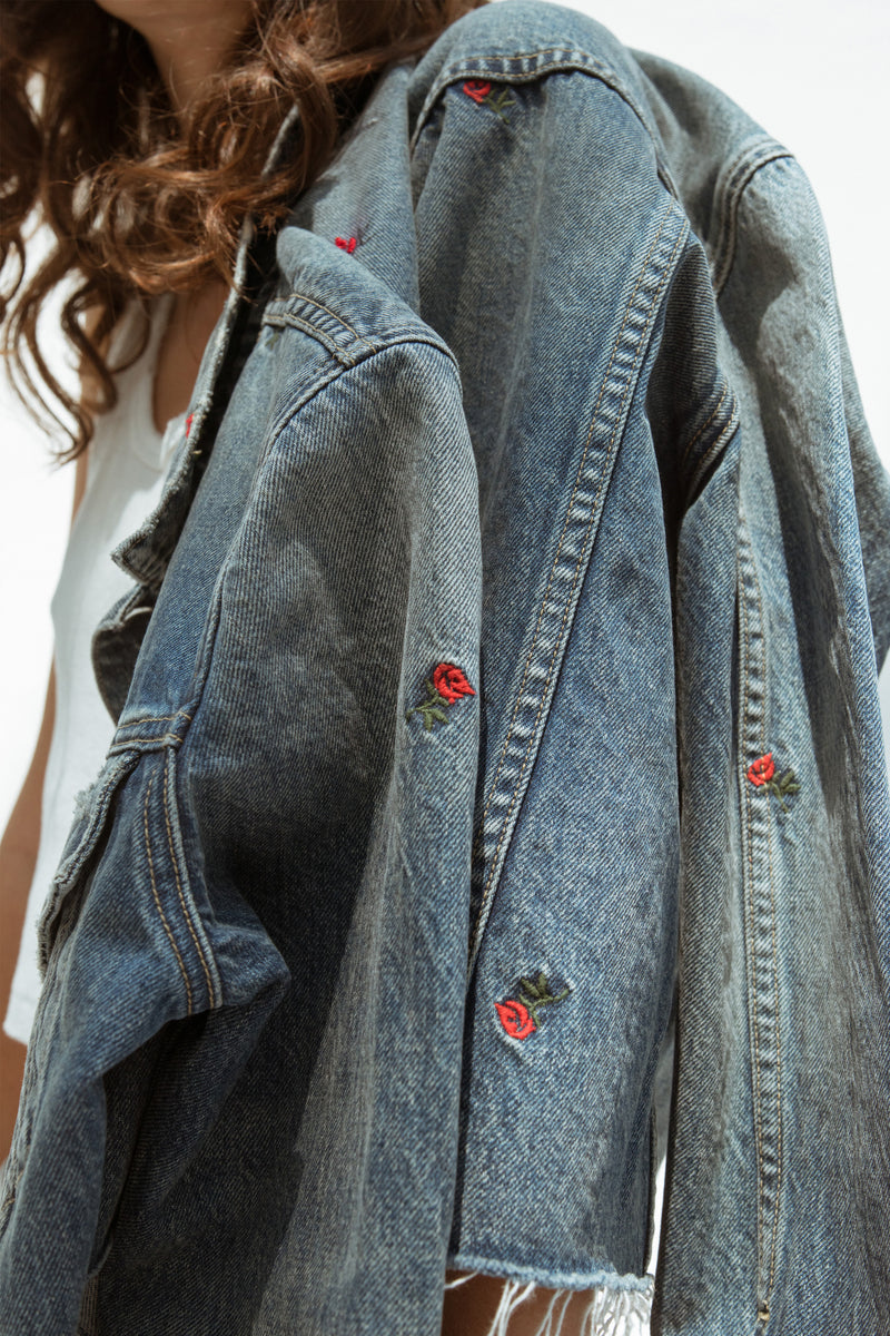 Cropped Pop Jacket with Embroidery<br>Rosebud Embroidery