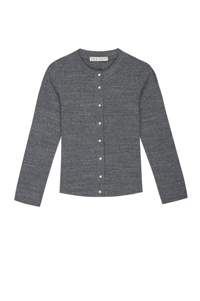AMO x DONNI <br> Rib Cardigan w/ Pearl Buttons <br> Heather Grey