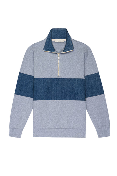 AMO x Donni <br> Rugby 1/2 Zip w/ Pearl Buttons <br> Heather Grey