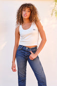 Crop Rib Tank w/ Embroidery <br> Vintage White
