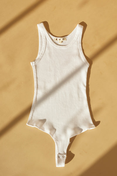 Long Rib Tank Body Suit <br> White