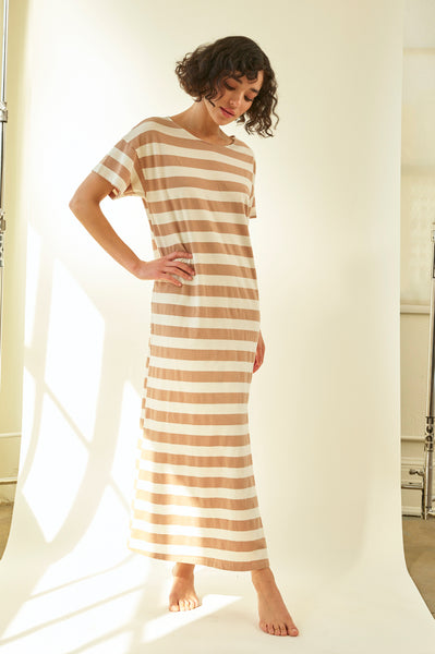 Stripe T-Shirt Dress <br> Dune Stripe