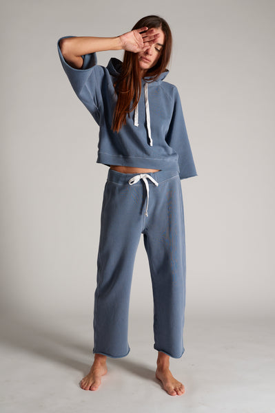 Coco Wide Leg Sweatpant <br> Faded Teal