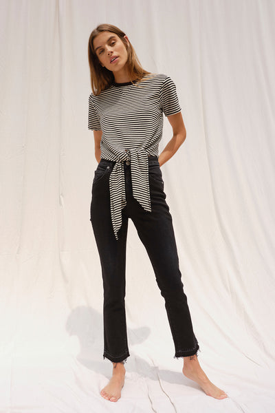 Tie Waist Tee <br> Mini Stripe *Final Sale*