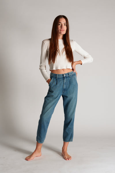 Pleated Slouch Trouser <br> Indigo