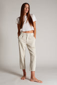 Pleated Slouch Trouser <br> Vintage White
